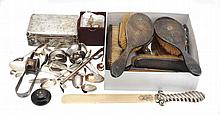 A collection of silver items, to include: a Victorian silver handled and...