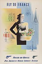 CARLU, Jean (1900-1997) - FLY TO FRANCE, PAN AM