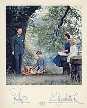 Royal Christmas Card for 1957, gilt embossed crown to cover