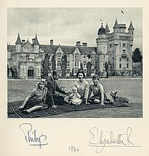 Royal Christmas Card for 1960, gilt-bordered crowned ciphers of the Queen...