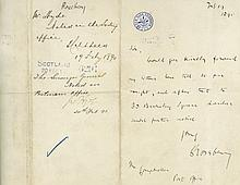 Autograph letter signed on headed 'New Club Edinburgh' paper
