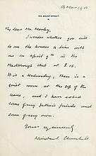 Autograph letter signed to Mr. Morley , on headed paper