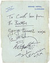 A unique set of black ink signatures of George Harrison, Paul McCartney