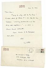 Autograph letter signed by Walter Lord on personalised stationery and...