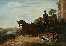 English School (19th Century) - Gentleman in his carriage with a spaniel