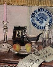 Suzanne Lalique (1892-1989) - A still life of silverware, with a copy of The Herald Tribune, and a bowl of fruit