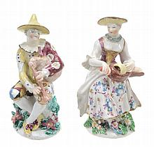A pair of Bow porcelain figures of Columbine and Harlequin, circa 1760