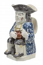 A pearlware Toby jug of Yorkshire type, circa 1800