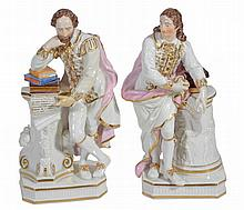 A pair of Derby porcelain figures of John Milton and William Shakespeare