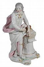 A Derby figure of John Milton, circa 1770, sparsely coloured and gilt, 31cm high