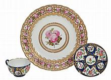A Derby plate painted with roses by William Billingsley , circa 1790