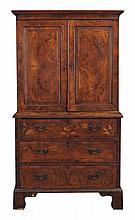 A George II burr walnut and featherbanded secretaire cabinet on chest