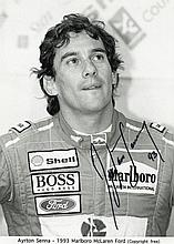 SENNA, AYRTON - A black and white, head and shoulders promotional photograph of...