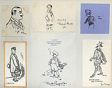 AUTOGRAPH ALBUM- INCL. CARTOONISTS OF THE 'PUNCH' - Autograph album containing sketches, clipped signatures