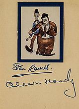 AUTOGRAPH ALBUM- INCL. LAUREL & HARDY - Small autograph album including signatures of Stan Laurel