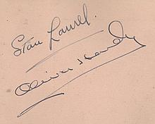 AUTOGRAPH ALBUM -INCL. LAUREL & HARDY - Autograph album with signatures and photographs of entertainers