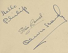AUTOGRAPH ALBUM -INCL. LAUREL & HARDY - Autograph album containing signatures mainly by prominent British...