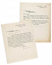 BUCHAN, JOHN - Two typed and signed letters