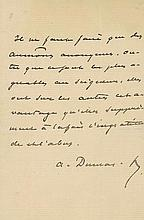 DUMAS, ALEXANDRE FILS - Autograph letter signed in French, advising his recipient to make...