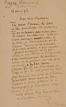 PISSARRO, CAMILLE - Autograph letter signed in French, addressed to