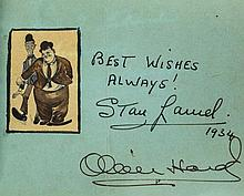 AUTOGRAPH ALBUM - INCL. LAUREL & HARDY - Autograph album including signatures by Stan Laurel and Oliver Hardy