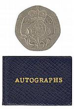 MINIATURE AUTOGRAPH BOOK - CHURCHILL, CHAMBERLAIN - Autograph book containing the signatures of various political