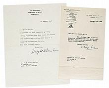 EISENHOWER, DWIGHT - Two typed letter signed addressed to V.E. Scott Bailey