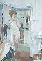 Bernard Dunstan (b.1920) Nude in doorway Oil on