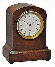 A rare early Victorian walnut miniature mantel timepiece Adam Thomson, London