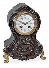 An unusual French Louis XV style bois d'Urci fronted mantel clock Unsigned