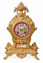 A French porcelain inset gilt metal mantel clock Japy Freres, Paris