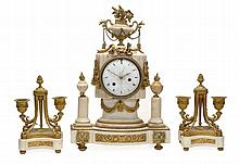 A French ormolu mounted white marble mantel clock Unsigned