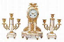 A French gilt brass mounted marble mantel clock garniture Indistinctly signed