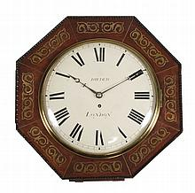 A William IV brass inlaid mahogany octagonal fusee dial timepiece The dial...