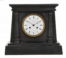 A French Belge noir marble mantel clock in the Egyptian taste Charles Frodsham