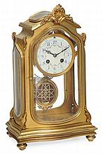 A French gilt brass four-glass mantel clock The movement by Japy Freres