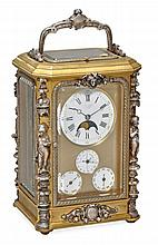 A fine silver mounted gilt brass petit sonnerie carriage clock with...
