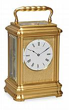 A fine French gilt brass gorge cased giant carriage clock with push-button...