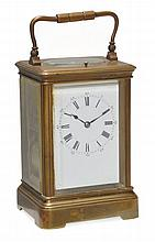 A French brass grande sonnerie striking carriage clock with push-button...