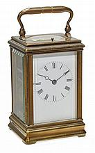 A French mid-sized brass carriage clock with push-button repeat Drocourt, Paris