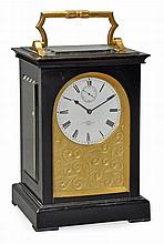 A fine Victorian gilt brass mounted ebonised giant carriage clock with...