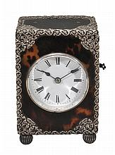 A French silver mounted tortoishell carriage clock Unsigned