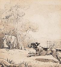 Thomas Stothard (1755-1834) - Farm dog chasing a wolf; Resting Lion with ?pony,