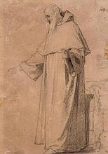 Circle of Anselm Friedrich Feuerbach - Saint preaching, with outsretched arms (recto); drapery study (verso),