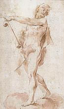 Roman School (18th century) - Standing figure with staff, pointing to the left,