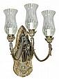 A pair of Victorian gilt brass three light wall