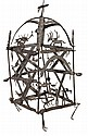 A wrought iron hanging frame in the form of a