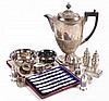 A collection of silver, to include: a silver coffee pot by John Round & Son Ltd