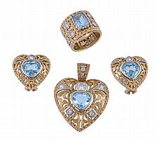 A suite of aquamarine and diamond jewellery