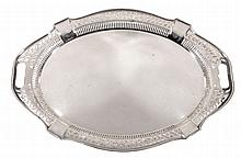 An electro-plated shaped oval tray, with a pierced foliate border, 61cm long